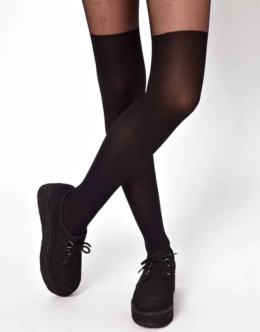 ASOS Tights With Over The Knee Mock Sock at asos.com