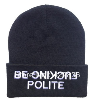be fucking polite Beanies hats for men women cheap sale online winter knitted caps Free shipping-in Skullies & Beanies from Apparel & Accessories on Aliexpress.com
