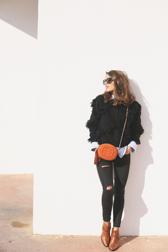seams for a desire blogger bag gucci orange brown leather boots winter sweater ripped jeans sweater shirt jeans shoes sunglasses