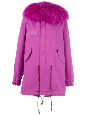 coat parka fur women cotton purple pink