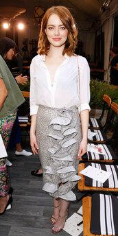 skirt,ruffle,emma stone,sandals,blouse,top,midi skirt