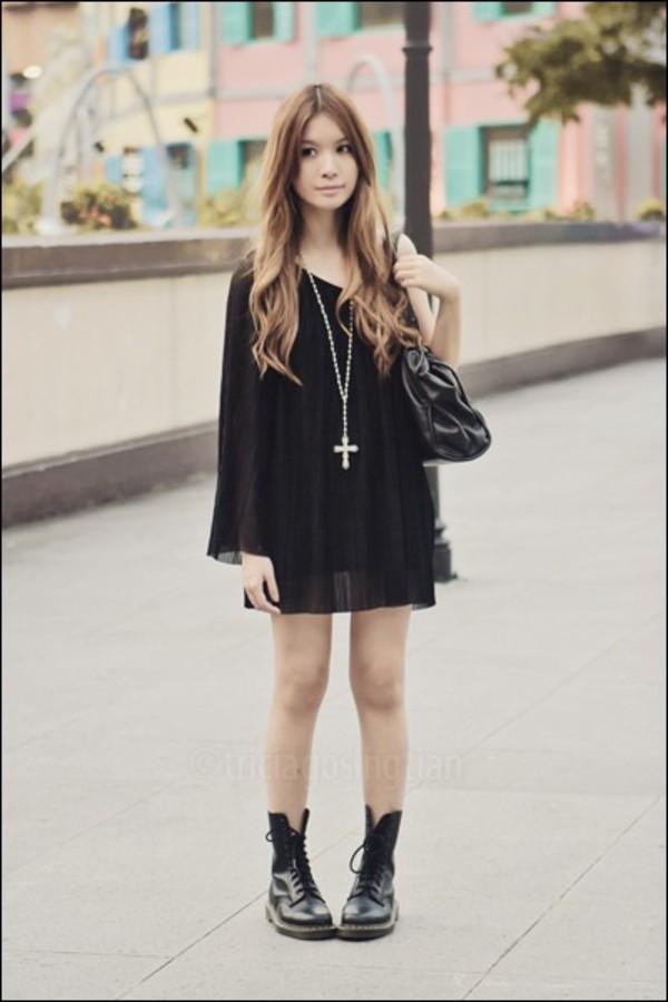 dress black dress black drews DrMartens