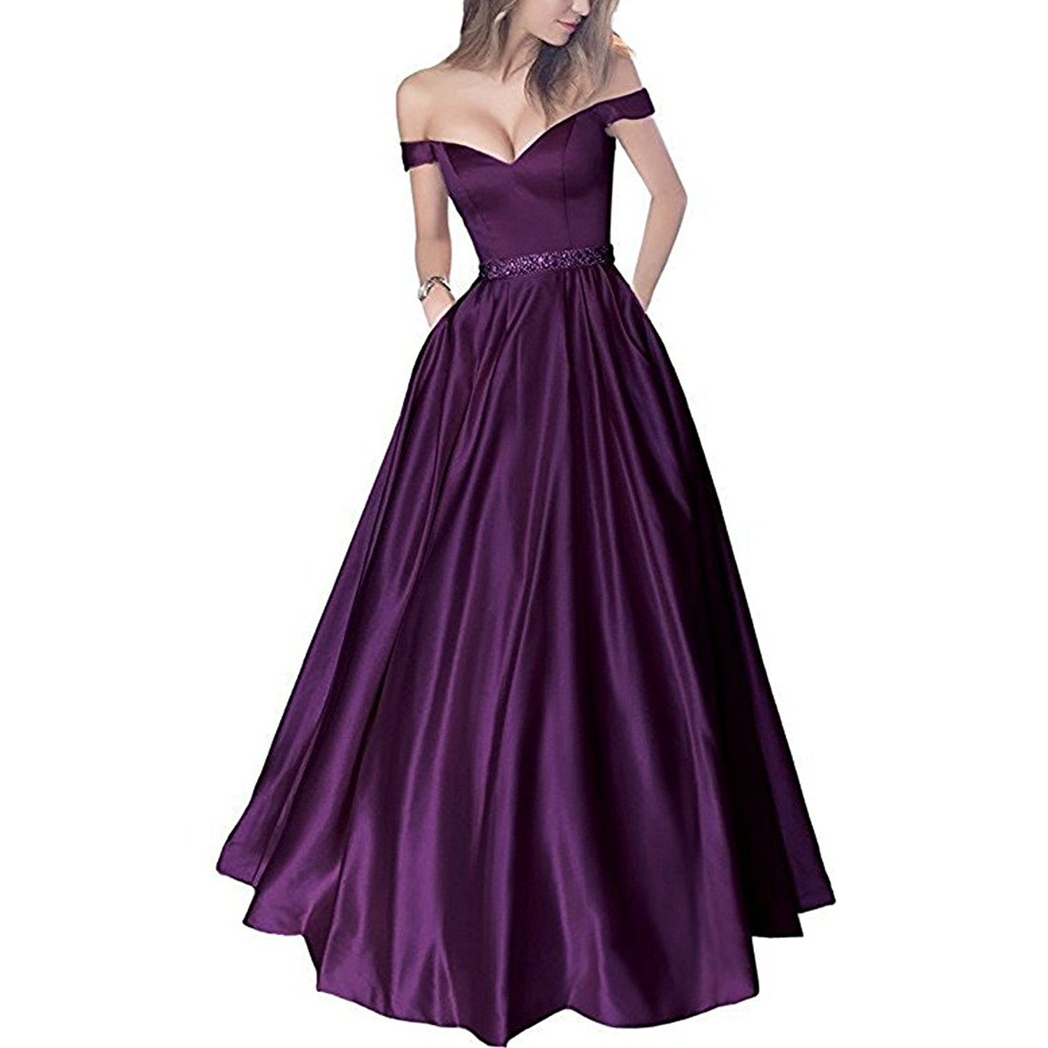 Lemai Off Shoulder Beaded Satin V Neck Corset Long Prom Dresses Evening Gowns at Amazon Women's Clothing store: