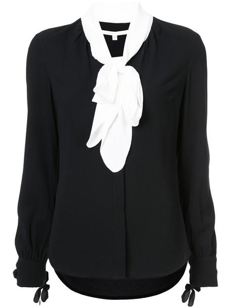 Veronica Beard blouse women spandex black top