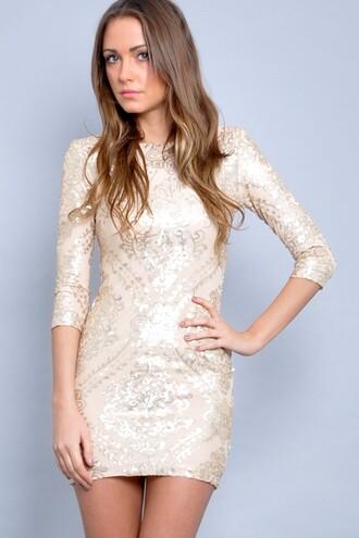 dress short dress evening dress gold baroque sequin dress long sleeve dress baroque dress cream sleeves design short formal