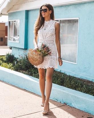 dress mini dress white dress sleeveless dress bag crochet crochet dress sandals sandal heels handbag