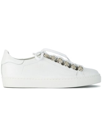 metal women sneakers leather white shoes