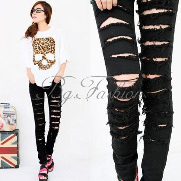 Women Black Ripped Punk Cut Out Skinny Pants Jeans Jeggings Trousers Size s M L | eBay