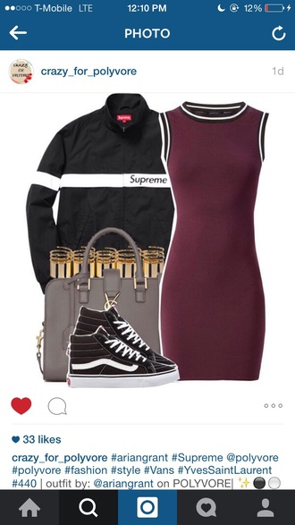 dress burgundy supreme jacket black urban sk8-hi bag shoes
