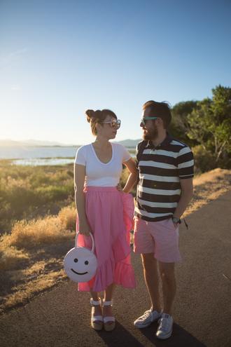 kelsey bang blogger sunglasses make-up shirt skirt shoes bag shorts