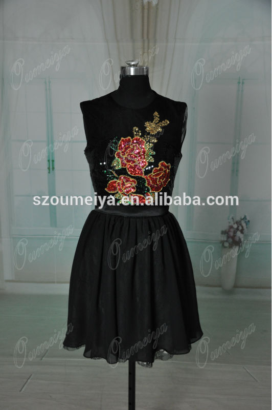 Oumeiya real pictures orc98 high neck sleeveless beaded and embroidered short black lace cocktail dress