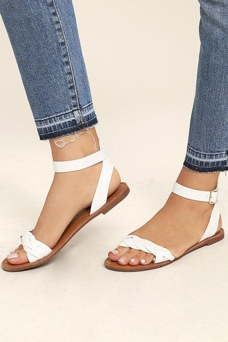 shoes braided sandal braided white sandal flat sandals cute sandal white sandals cute braided sandal white braided sandal ankle strap sandal cute white sandal cute flat sandal