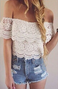 New Women Sexy Strapless Lace Crochet Off Shoulder Tops Tee Shirt Casual Blouse