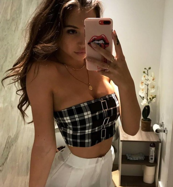 blouse girly girl girly wishlist black crop tops cropped crop bandeau bandeau top checkered buckles