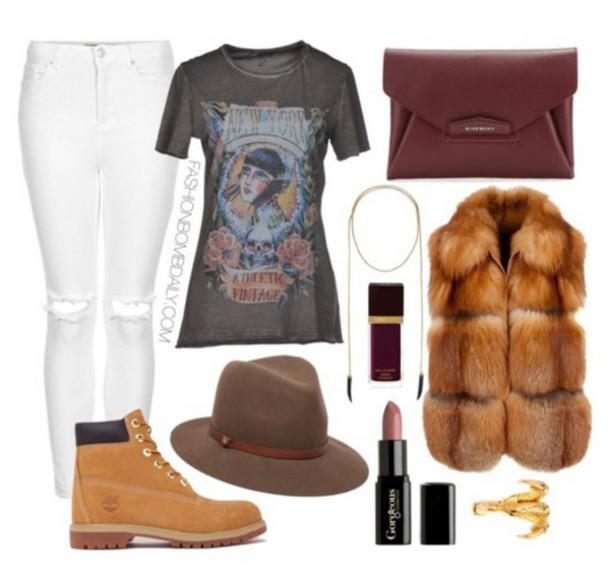 jacket t-shirt fur vest burgundy purse fadora hat