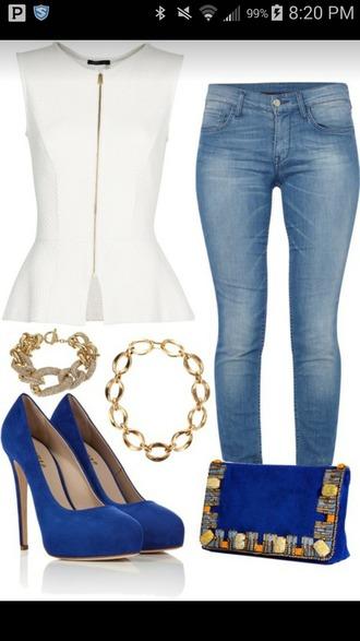 blouse white shirt jeans high heels purse jewels