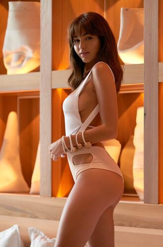 swimwear one piece swimsuit girly summer beach white nude sexy bikiniluxe-feb 2016 high waisted one piece pink montce swim