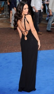 dress,megan fox,long black dress,backless dress