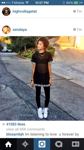 zendaya see through top t-shirt dress quote on it t-shirt see through top underwear blouse dvmn black shirt shoes urban shirt long shirt black and white mesh top swag mesh fashion trendy hipster black nikes nike sneakers nike streetwear mesh top black mesh top shearshirt dope wishlist black t-shirt zendeya bralette white leggings sheer mesh t-shirt oversized t-shirt nike air force 1