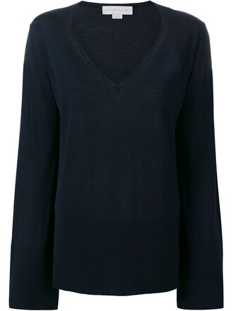 jumper silk wool blue sweater
