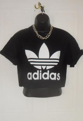 diy cropped black adidas top t shirt grunge summer festival | mysticclothing | ASOS Marketplace