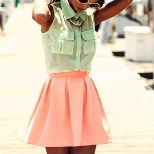 Peach Skater Skirt Skirt Peach Skirt Fashion