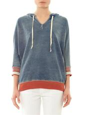 sweater,the cropped sleeve sweatshirt,sweatshirt,blue