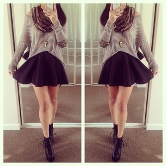 skirt black skater skirt black skirt skater skirt back to school fall outfits ootd we heart it divergence clothing high waisted skirt