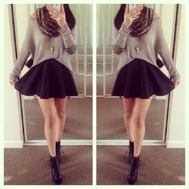 What to wear with black skater skirt