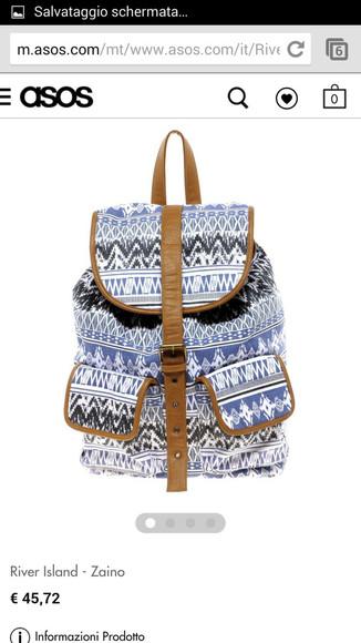 blue and white bag river island bag tribal pattern backpack/rucksack