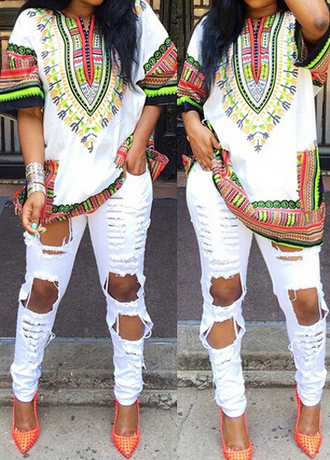 shirt tribal pattern orange orange shoes white neon neon colors african print african style african pattern red shoes ripped jeans white ripped jeans white ripped denim bright silver jewelry african american