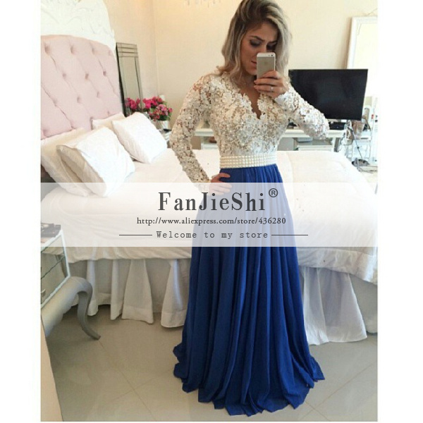 Aliexpress.com : buy hot sale custom made floor length sexy v neck full sleeve appliques pearls backless a line chiffon prom dresses 2015 new arrive from reliable prom dresses square one suppliers on suzhou fanjieshi wedding dress co., ltd.