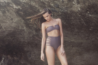 swimwear brown swimwear two-piece highwaisted bikini strapless bikini