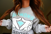 sweater,diamonds,crooks,diamondcrooks,supply co.,diamond supply co.,crewneck,skater,hair,grey,crooks and castles,clothes,celebrity,brands,comfy,supreme,shirt,dimond,blue,diamond crooks,grey sweater,aquamarine,sweatshirt,girl,cute sweater,tumblr sweater