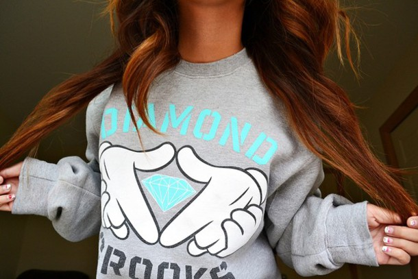 Diamond supply co hoodie grey