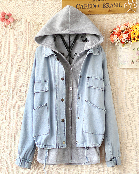 Hooded vest fleece loose cowboy coat two