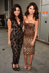 dress,vanessa hudgens,selena gomez,sexy,leopard print,strapless dress,jumpsuit,lace,beautiful