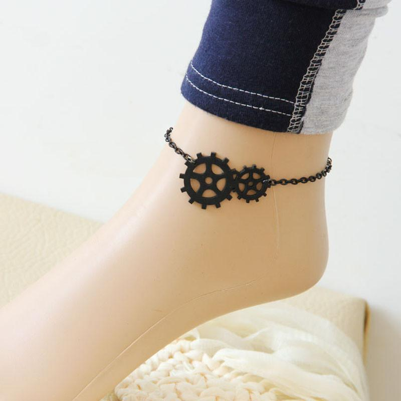 1PC New Fashion Womens Steam Punk Jewelry Gothic Fresh Sweet Anklet Black
