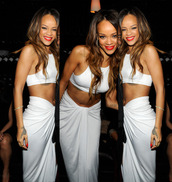 skirt,top,maxi skirt,rihanna,white