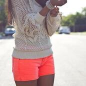 shorts,sweater,jewels,orange,shirt,pink bright,blouse,white lace