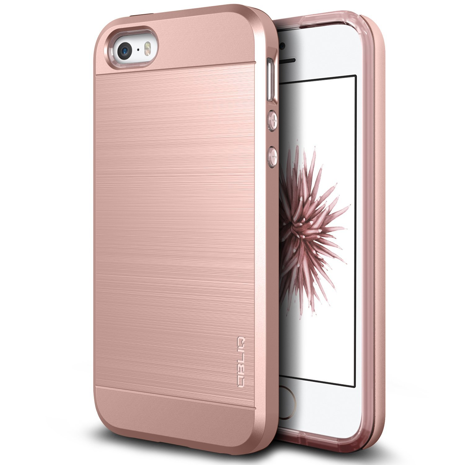 newest 10af7 bf88d Amazon.com: iPhone SE Case, OBLIQ [Slim Meta][Rose Gold][Dual Layer] Slim  Fit Metallic Brush Finish Back [Shock Absorbing] TPU Inner Layer for Apple  ...
