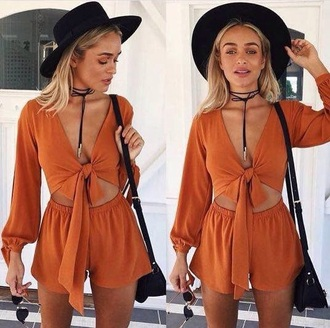 romper cute style set girly girl girly wishlist two-piece orange matching set