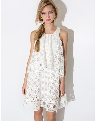 dress white white dress cute eyelet eyelet lace sleeveless summer dress summer pixie market pixie market girl