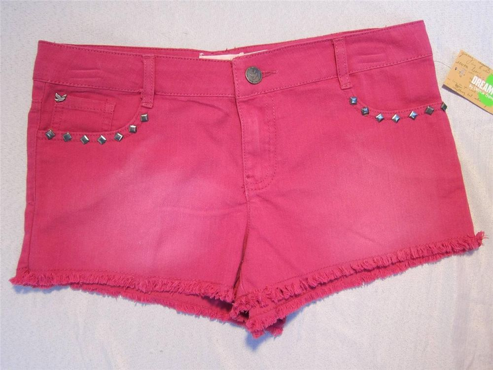 Womens Juniors Dream Out Loud Jean Shorts Sz 13 Magenta Pink Selena Gomez | eBay