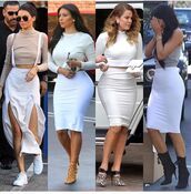 skirt,pencil skirt,white skirt,high waisted skirt,outfit,outfit idea,summer outfits,cute outfits,spring outfits,date outfit,party outfits,clubwear,streetwear,streetstyle,trendy,fashion,style,stylish,clothes,keeping up with the kardashians,khloe kardashian,kendall jenner,kylie jenner,kendall and kylie jenner,kim kardashian,kim kardashian style,top,white top,summer top,cute top,crop tops,white crop tops,long sleeves,long sleeve crop top,slit skirt,slit,shoes,cute skirt,cute high heels,cute shoes,party shoes,sexy shoes,summer shoes,5 inch and up,clubbing  shoes,clubbong outfit,heels,black shoes,high heels,black high heels,black heels,high heels boots,booties,black booties,booties shoes,pointed toe pumps,pointed toe,pointed boots,pumps,high heel pumps,nude heels,lace up heels,strappy heels,nude high heels,leopard print,sneakers,white sneakers,low top sneakers,white shoes,sunglasses,black sunglasses,clutch,earrings,grey top