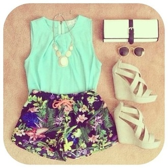 shoes flowered shorts white wedges wedges sunglasses white shorts