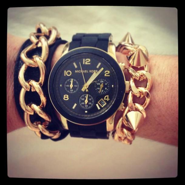 jewels black gold michael kors watch armcandy chain bracelets