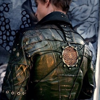 leather coat goth dreamcatcher leather jacket