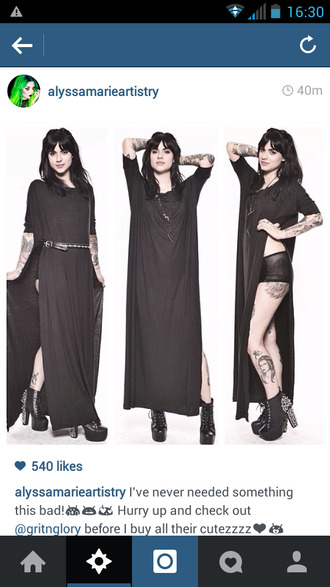 dress black shirt ankle length side slit maxi dress