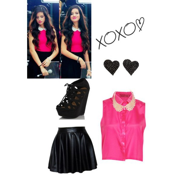 shoes high heels black high heels black heels Fifth Harmony pink top pink shirt hot pink black skirt camila cabello outfit blouse skirt Camila Cabello